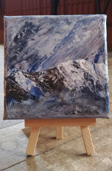 Small acrylic painting, stormy sky with snowy mountains miniature palette knife painting by Goldstarwork, Artist Laura Wilson
