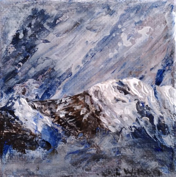 small acrylic painting, close up of this palette knife painting of a stormy sky over snowy mountain tops by Goldstarwork, Artist Laura Wilson