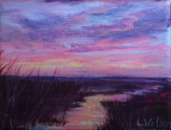 small acrylic painting, Pink glowing sunrise at the beach. Seascape by Goldstarwork, Artist Laura Wilson