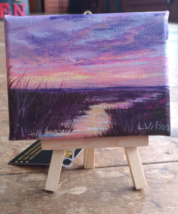 Small acrylic painting,pink sunrise at the beach. light reflected on water. original art by Goldstarwork, Artist Laura Wilson