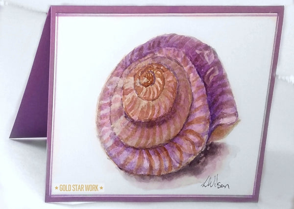 Purple seashell watercolour greeting card. This is not a print but an original piece of fine art. Standing By Goldstarwork, Artist Laura Wilson