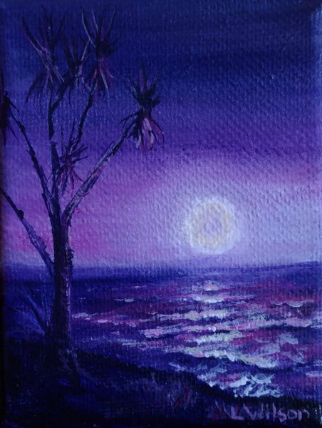 purple night scene at the beach, miniature seascape by Goldstarwork, artist Laura Wilson