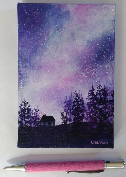 Acrylic painting, purple starry night sky by Goldstarwork artist Laura Wilson. small painting great gift