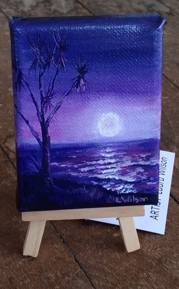 small purple seascape. Acrylic painting on canvas. Night scene at the beach by Goldstarwork, Artist Laura Wilson