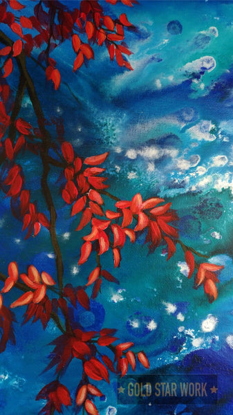 Bright blue waters an acrylic contemporary painting featuring an abstract river background and autumn red leaves. Close up 1 By Goldstarwork, Artist Laura Wilson