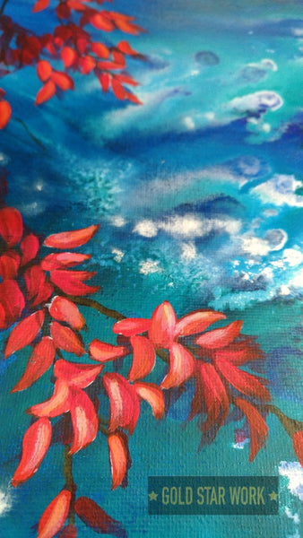 Bright blue waters an acrylic contemporary painting featuring an abstract river background and autumn red leaves.  Close up 4 By Goldstarwork, Artist Laura Wilson