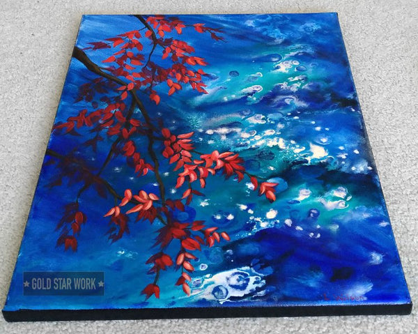 Bright blue waters an acrylic contemporary painting featuring an abstract river background and autumn red leaves. Side view By Goldstarwork, Artist Laura Wilson