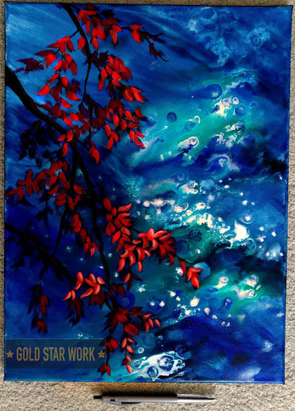 Bright blue waters an acrylic contemporary painting featuring an abstract river background and autumn red leaves. Showing size By Goldstarwork, Artist Laura Wilson