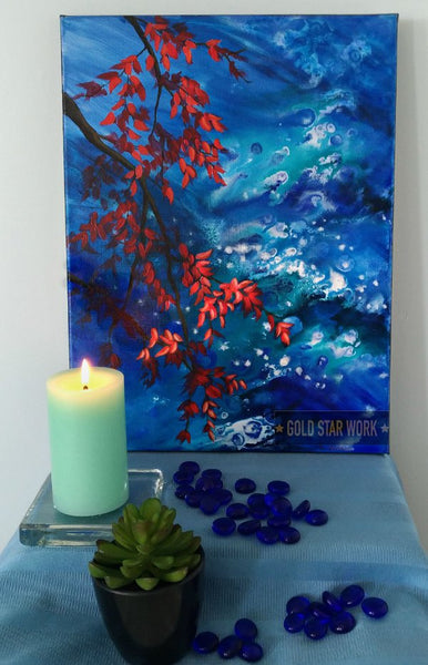 Bright blue waters an acrylic contemporary painting featuring an abstract river background and autumn red leaves. staged view By Goldstarwork, Artist Laura Wilson