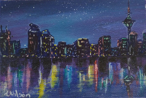 Night cityscape original hand painted greeting card by Goldstarwork, artist Laura Wilson