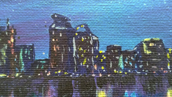 close up of city at night hand painted greeting card by Goldstarwork, artist Laura Wilson