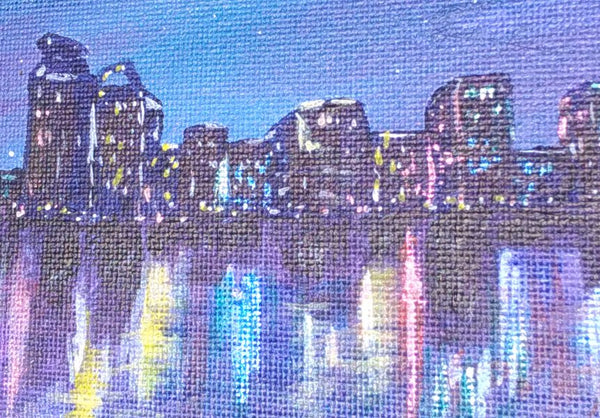showing close up of interference paint on lights in the city at night greeting card by Goldstarwork, artist Laura Wilson