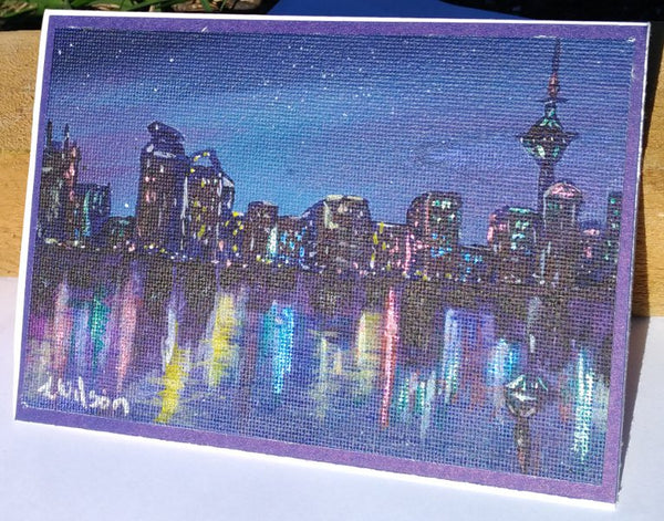 lights in the city at night hand painted greeting card by Goldstarwork, artist Laura Wilson