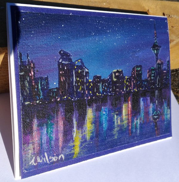 city lights on the water hand painted greeting card by Goldstarwork, artist Laura Wilson
