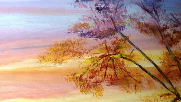 acrylic painting sunrise/sunset at the beach, sun shinning through the trees. sea cliff orange light. close up of trees. glowing trees by Goldstarwork, Artist Laura Wilson