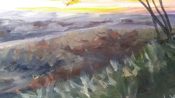 acrylic painting sunrise/sunset at the beach, sun shinning through the trees. sea cliff orange light. close up of grass. glowing trees by Goldstarwork, Artist Laura Wilson