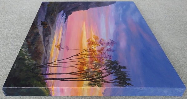 acrylic painting sunrise/sunset at the beach, sun shinning through the trees. sea cliff orange light. side view. glowing trees by Goldstarwork, Artist Laura Wilson