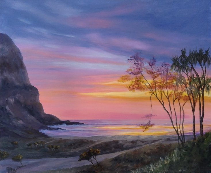 acrylic painting sunrise/sunset at the beach, sun shinning through the trees. sea cliff orange light. glowing trees by Goldstarwork, Artist Laura Wilson