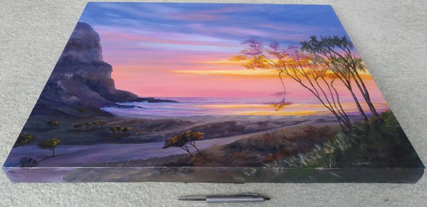 acrylic painting sunrise/sunset at the beach, sun shinning through the trees. sea cliff orange light. bottom view showing size. glowing trees by Goldstarwork, Artist Laura Wilson