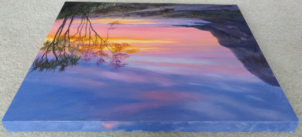 acrylic painting sunrise/sunset at the beach, sun shinning through the trees. sea cliff orange light. Top view. glowing trees by Goldstarwork, Artist Laura Wilson
