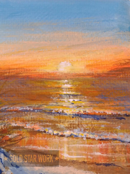 Small acrylic painting orange sunrise seascape, Close up of sun. By Goldstarwork, Artist Laura Wilson