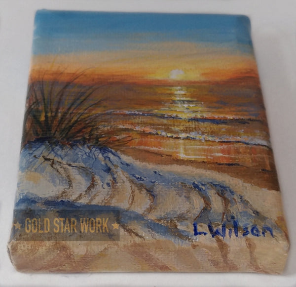 Small acrylic painting orange sunrise seascape, Bottom view, By Goldstarwork, Artist Laura Wilson