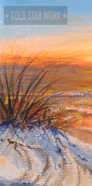 Small acrylic painting orange sunrise seascape, close up of sand dune and bush. By Goldstarwork, Artist Laura Wilson