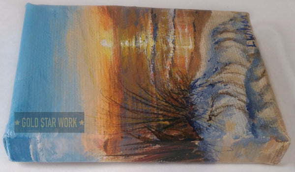 Small acrylic painting orange sunrise seascape, Left side view. By Goldstarwork, Artist Laura Wilson