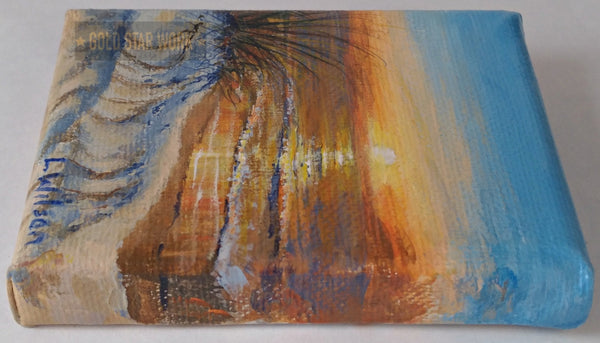 Small acrylic painting orange sunrise seascape, Right side view. By Goldstarwork, Artist Laura Wilson