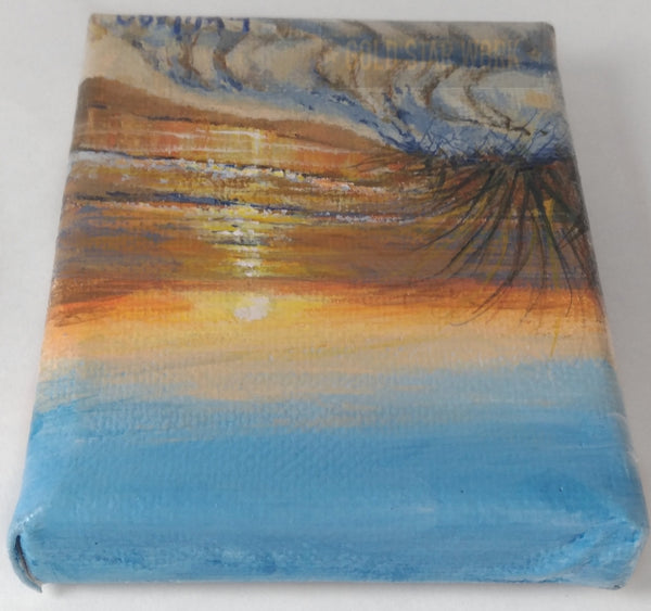 Small acrylic painting orange sunrise seascape, Top view. By Goldstarwork, Artist Laura Wilson