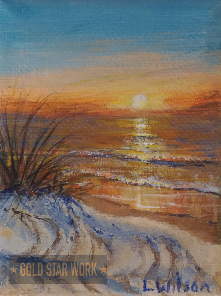 Small acrylic painting orange sunrise seascape, By Goldstarwork, Artist Laura Wilson
