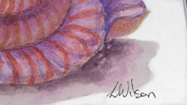 Purple seashell watercolour greeting card. This is not a print but an original piece of fine art. Close up 2. By Goldstarwork, Artist Laura Wilson