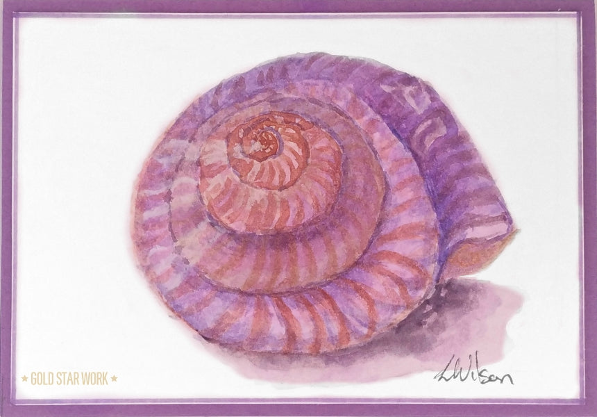 Purple seashell watercolour greeting card. This is not a print but an original piece of fine art. By Goldstarwork, Artist Laura Wilson