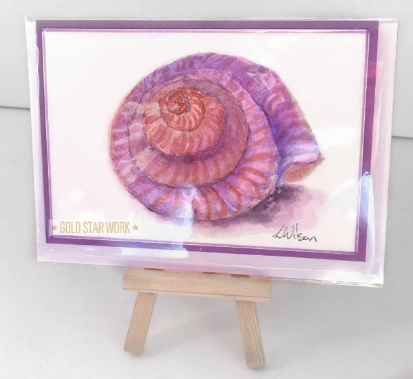Purple seashell watercolour greeting card. This is not a print but an original piece of fine art. In Cellophane bag. By Goldstarwork, Artist Laura Wilson