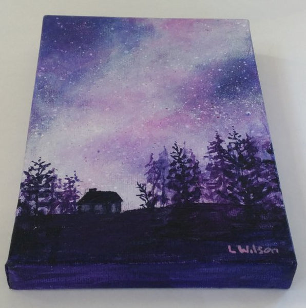 Acrylic painting, purple starry night sky by Goldstarwork artist Laura Wilson. showing painting wrapping around canvas