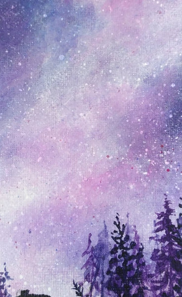 Acrylic painting, purple starry night sky by Goldstarwork artist Laura Wilson.  Close up of stars in the sky