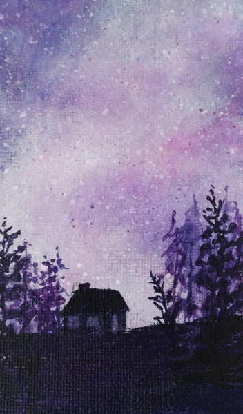 Acrylic painting, purple starry night sky by Goldstarwork artist Laura Wilson. Close up of cottage silhouette