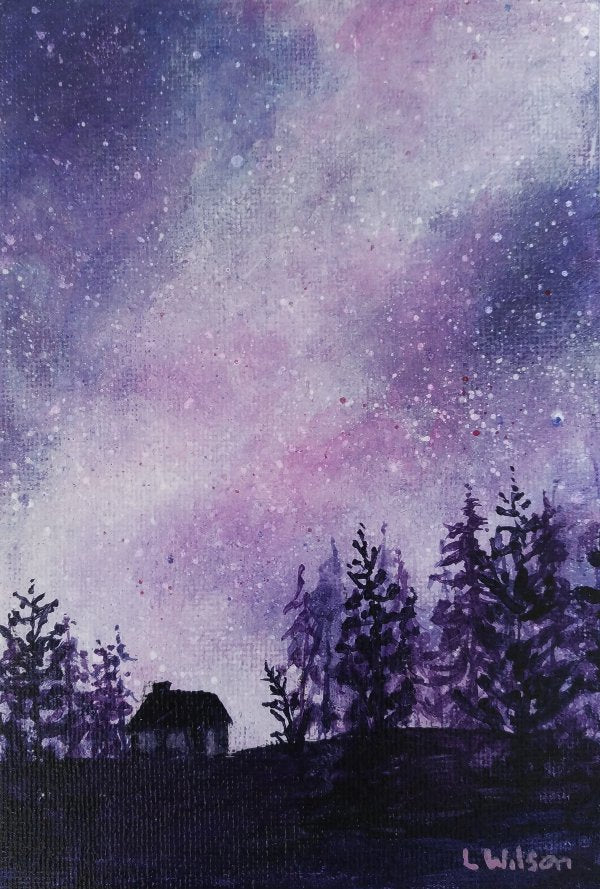Acrylic painting, purple starry night sky by Goldstarwork artist Laura Wilson