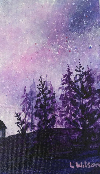 Acrylic painting, purple starry night sky by Goldstarwork artist Laura Wilson.  Close up of pine tree forest