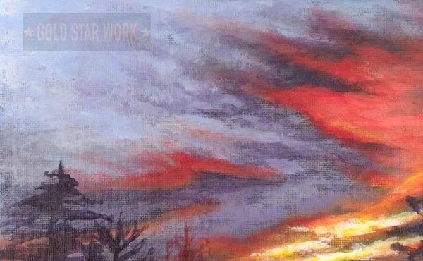 Sunset from my backyard acrylic painting close up 1 by Goldstarwork, Artist Laura Wilson