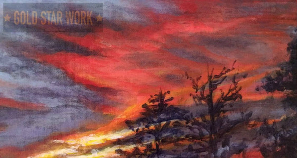 Sunset from my backyard acrylic painting close up 2 by Goldstarwork, Artist Laura Wilson
