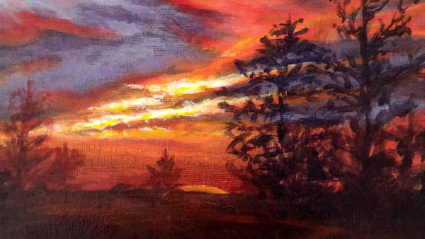 Sunset from my backyard acrylic painting close up 3 by Goldstarwork, Artist Laura Wilson