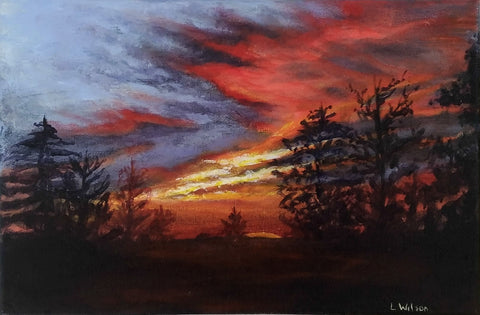 Sunset from my backyard acrylic painting by Goldstarwork, Artist Laura Wilson