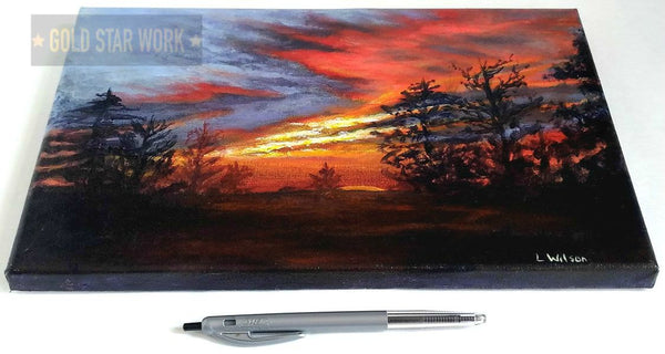 Sunset from my backyard acrylic painting showing size by Goldstarwork, Artist Laura Wilson