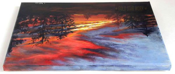 Sunset from my backyard acrylic painting top of painting by Goldstarwork, Artist Laura Wilson