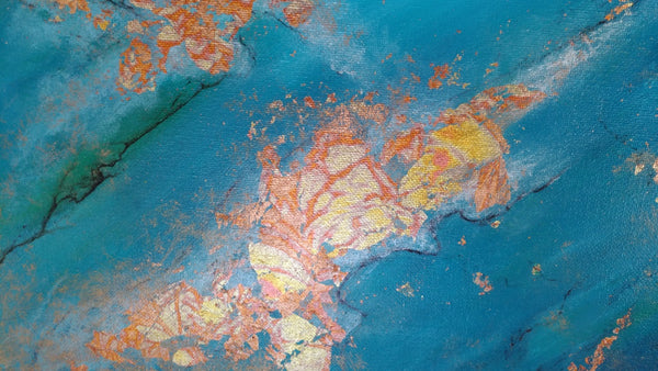 Turquoise and blue with gold foil abstract acrylic painting, Close up of Oceans Alive. By Goldstarwork, Artist Laura Wilson.