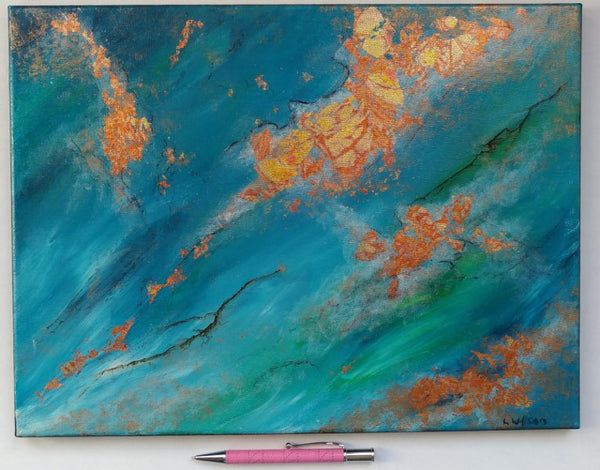 Turquoise and blue with gold foil abstract acrylic painting, Oceans Alive. By Goldstarwork, Artist Laura Wilson.