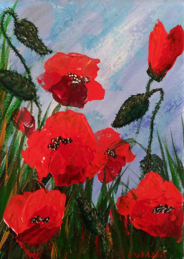 Waiting for rain red poppy flower painting with a palette knife fine artacrylic painting remote works mightylinksfo