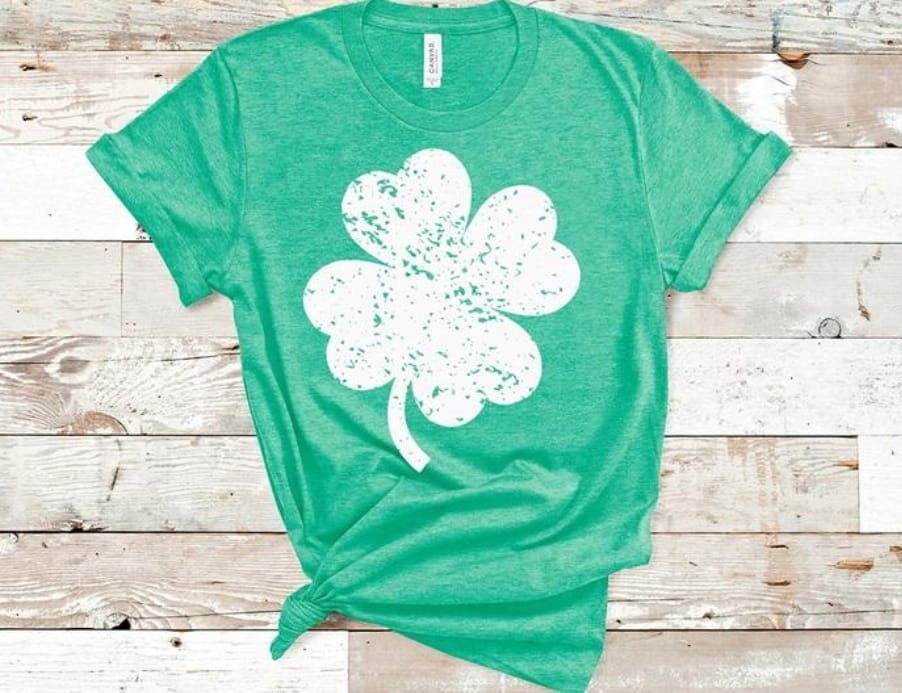 Distressed Shamrock Tee- Screen Printed