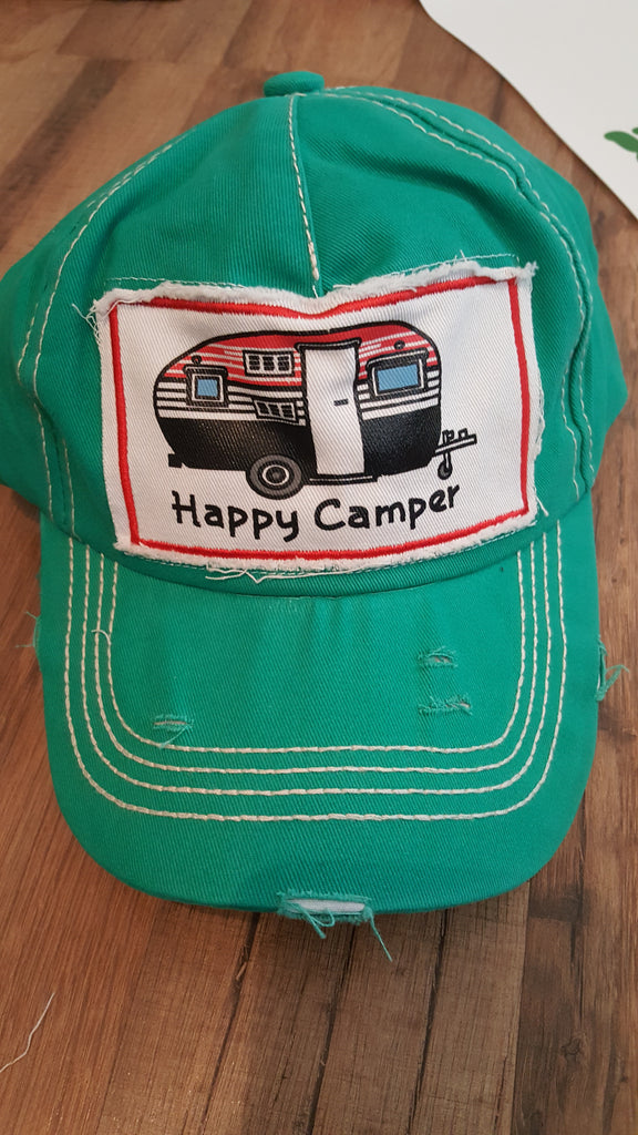 Happy camper patch hat
